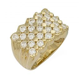 9ct Yellow Gold Cz Keeper Ring